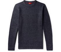 Honeycomb-knit Mélange Linen And Wool-blend Sweater - Navy