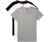 Three-pack Slim-fit Distressed Cotton-jersey T-shirts - Multi