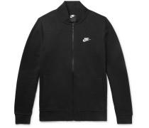 Slim-fit Fleece-back Cotton-blend Jersey Zip-up Sweatshirt - Black