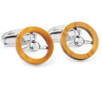 Silver-Tone and Stone Cufflinks