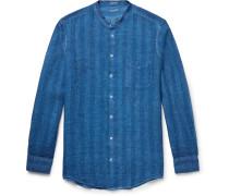 Slim-fit Grandad-collar Watercolour-dyed Striped Linen Shirt