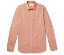Slim-fit Garment-dyed Cotton-poplin Shirt - Pink
