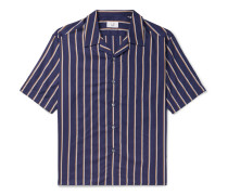 Camp-Collar Striped Lyocell and Cotton-Blend Shirt