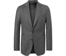 Grey Soho Slim-fit Unstructured Wool And Cashmere-blend Blazer