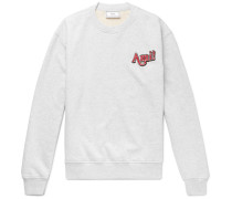 Logo-embroidered Mélange Loopback Cotton-jersey Sweatshirt - Gray