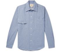 Logo-Embroidered Pinstriped Cotton Shirt