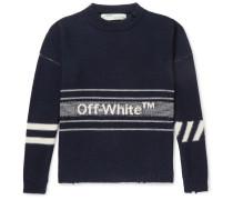 Oversized Distressed Logo-intarsia Wool Sweater
