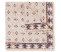Reversible Printed Linen And Cotton-blend Pocket Square - Beige