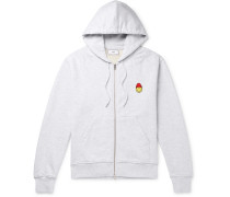 + The Smiley Company Logo-appliquéd Mélange Loopback Cotton-jersey Zip-up Hoodie - Gray