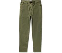 Slim-Fit Stretch-Cotton Twill Drawstring Trousers