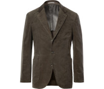 Army-green Slim-fit Unstructured Sea Island Cotton-corduroy Suit Jacket