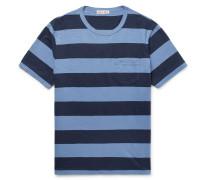 Striped Slub Cotton-jersey T-shirt - Navy