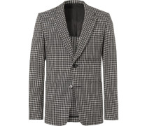 Slim-fit Checked Wool And Cotton-blend Blazer