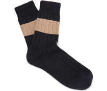 Striped Ribbed Cotton Socks - Navy
