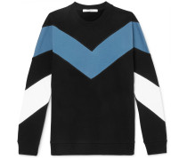 Chevron Fleece-back Cotton-jersey Sweatshirt - Black