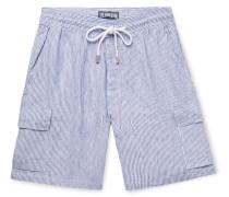 Berrix Striped Slub Linen Cargo Shorts