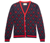 Slim-fit Webbing-trimmed Wool-jacquard Cardigan