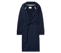 Loopback Cotton-jersey Hooded Robe - Navy