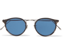 Round-frame Silver-tone And Acetate Sunglasses