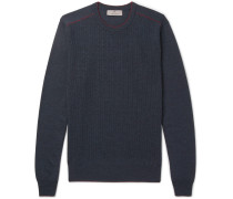 Contrast-tipped Cable-knit Wool Sweater
