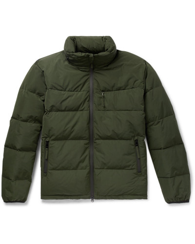 Quilted Shell Hooded Down Jacket - Army green