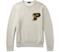 Appliquéd Mélange Fleece-back Cotton-blend Jersey Sweatshirt - Light gray
