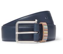3cm Navy Stripe-trimmed Leather Belt - Navy