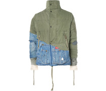 Panelled Distressed Cotton-canvas And Denim Jacket - Green