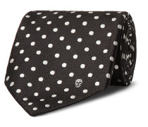 8cm Polka-dot Silk Tie - Black