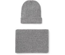 Ribbed Cashmere Hat And Scarf Set - Gray