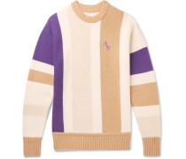Logo-Embroidered Colour-Block Wool-Blend Sweater