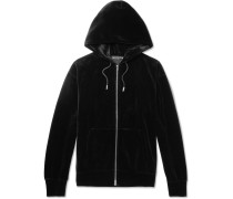 Oversized Printed Cotton-Blend Velour Hoodie