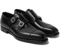 Thomas Leather Monk-strap Shoes - Black