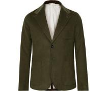 Olive-Green Franklin Unstructured Cotton-Blend Dobby Blazer