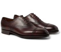 Cadogan Burnished-leather Brogues - Dark brown