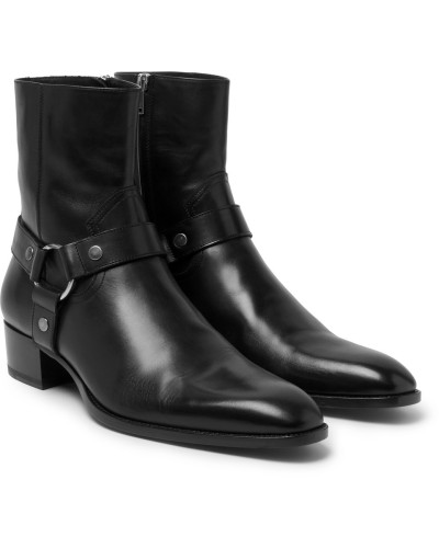 Leather Harness Boots - Black