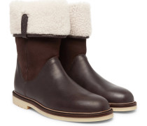 Snow Walk Shearling-lined Leather And Suede Boots - Brown
