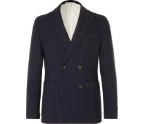 Navy Onslow Unstructured Double-Breasted Basketweave Wool and Cotton-Blend Blazer