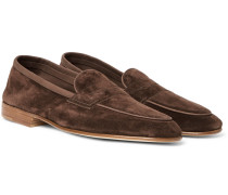 Polperro Nubuck-trimmed Suede Penny Loafers - Chocolate