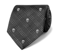 8cm Embroidered Prince Of Wales Checked Silk-Jacquard Tie