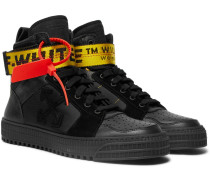 Industrial Leather, Suede And Ripstop High-top Sneakers - Black