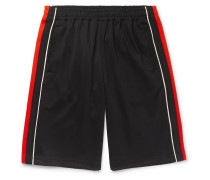 Wide-Leg Logo-Embroidered Webbing-Trimmed Tech-Jersey Shorts