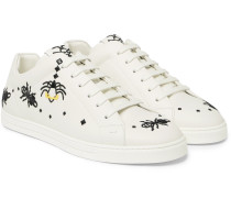 Embroidered Leather Sneakers - White