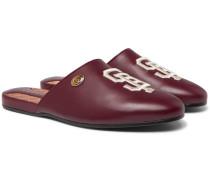 + San Francisco Giants Flamel Appliquéd Leather Backless Loafers - Burgundy