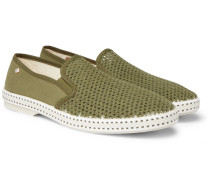 Cotton-mesh And Canvas Espadrilles - Green