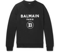 Slim-Fit Logo-Flocked Loopback Cotton-Jersey Sweatshirt