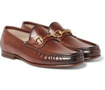 Roos Horsebit Burnished-leather Loafers