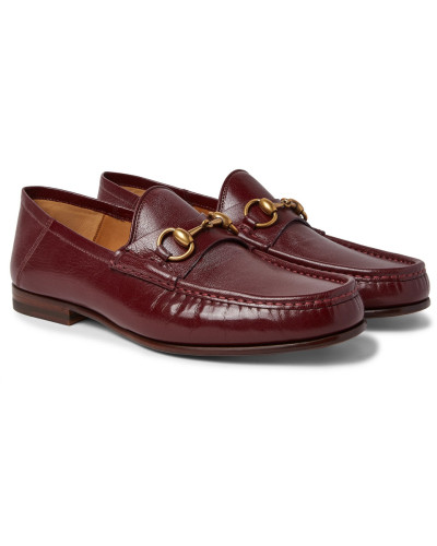 Easy Roos Horsebit Collapsible-heel Leather Loafers - Burgundy