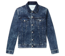 Slim-fit Logo-print Washed Stretch-denim Jacket - Blue