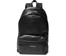 Explorer Arena Logo-print Creased-leather Backpack - Black